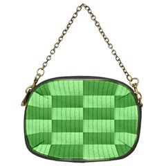 Wool Ribbed Texture Green Shades Chain Purses (two Sides)