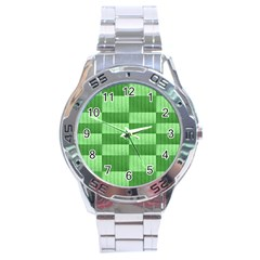 Wool Ribbed Texture Green Shades Stainless Steel Analogue Watch