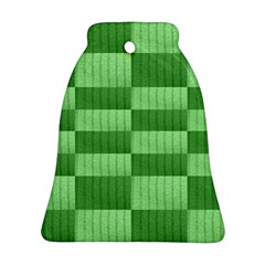 Wool Ribbed Texture Green Shades Ornament (bell)