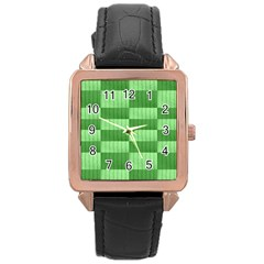 Wool Ribbed Texture Green Shades Rose Gold Leather Watch