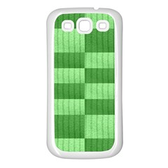Wool Ribbed Texture Green Shades Samsung Galaxy S3 Back Case (white)