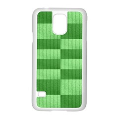 Wool Ribbed Texture Green Shades Samsung Galaxy S5 Case (white)