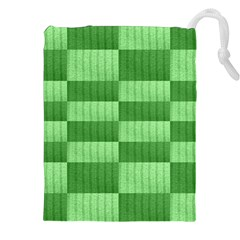 Wool Ribbed Texture Green Shades Drawstring Pouches (xxl)