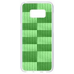 Wool Ribbed Texture Green Shades Samsung Galaxy S8 White Seamless Case