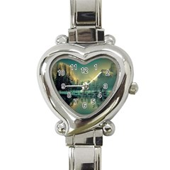 Yosemite Park Landscape Sunrise Heart Italian Charm Watch