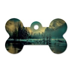 Yosemite Park Landscape Sunrise Dog Tag Bone (one Side)