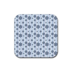 Snowflakes Winter Christmas Card Rubber Coaster (square)