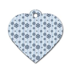 Snowflakes Winter Christmas Card Dog Tag Heart (one Side)