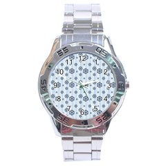 Snowflakes Winter Christmas Card Stainless Steel Analogue Watch