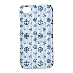 Snowflakes Winter Christmas Card Apple Iphone 4/4s Hardshell Case With Stand