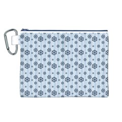 Snowflakes Winter Christmas Card Canvas Cosmetic Bag (l)