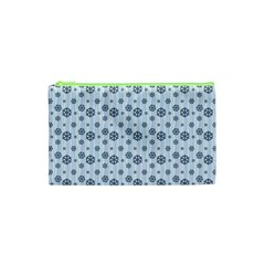 Snowflakes Winter Christmas Card Cosmetic Bag (xs)