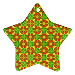 Pattern Texture Christmas Colors Star Ornament (two Sides)
