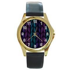 Background Weave Plait Blue Purple Round Gold Metal Watch