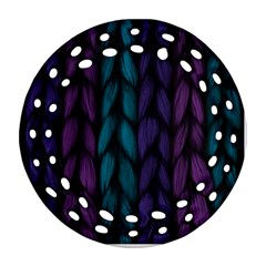 Background Weave Plait Blue Purple Round Filigree Ornament (two Sides)