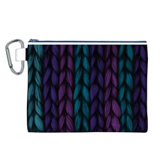 Background Weave Plait Blue Purple Canvas Cosmetic Bag (l)