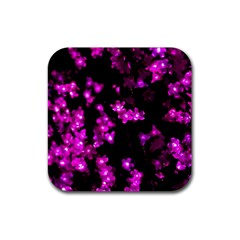 Abstract Background Purple Bright Rubber Square Coaster (4 Pack)