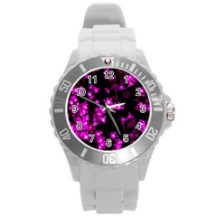 Abstract Background Purple Bright Round Plastic Sport Watch (l)