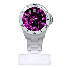 Abstract Background Purple Bright Plastic Nurses Watch