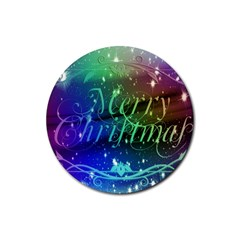 Christmas Greeting Card Frame Rubber Round Coaster (4 Pack)