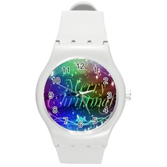 Christmas Greeting Card Frame Round Plastic Sport Watch (m)
