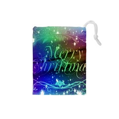 Christmas Greeting Card Frame Drawstring Pouches (small)