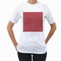 Christmas Wrapping Paper Women s T Shirt (white) (two Sided)