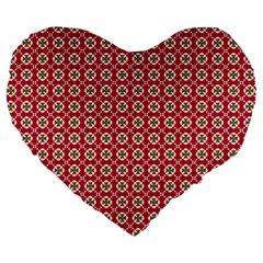 Christmas Wrapping Paper Large 19  Premium Heart Shape Cushions