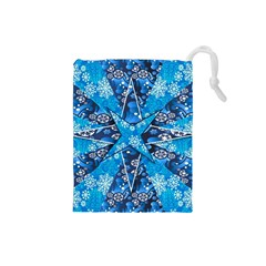 Christmas Background Wallpaper Drawstring Pouches (small)