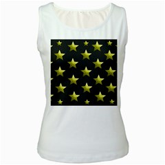 Stars Backgrounds Patterns Shapes Women s White Tank Top