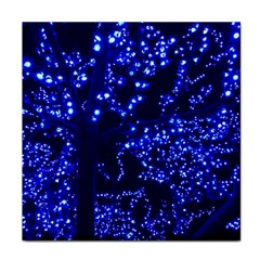 Lights Blue Tree Night Glow Tile Coasters