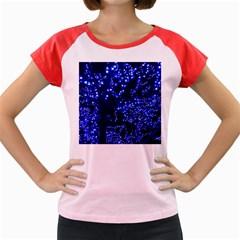 Lights Blue Tree Night Glow Women s Cap Sleeve T Shirt
