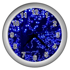Lights Blue Tree Night Glow Wall Clocks (silver)