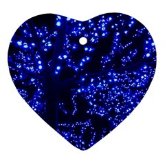 Lights Blue Tree Night Glow Heart Ornament (two Sides)