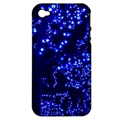 Lights Blue Tree Night Glow Apple Iphone 4/4s Hardshell Case (pc+silicone)
