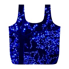 Lights Blue Tree Night Glow Full Print Recycle Bags (l)