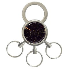 Star Sky Graphic Night Background 3 Ring Key Chains