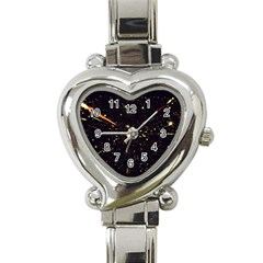 Star Sky Graphic Night Background Heart Italian Charm Watch