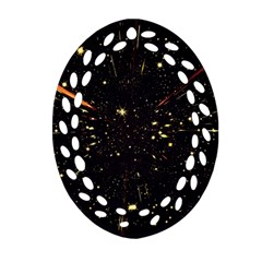 Star Sky Graphic Night Background Ornament (oval Filigree)