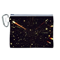 Star Sky Graphic Night Background Canvas Cosmetic Bag (l)