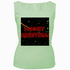 Star Sky Graphic Night Background Women s Green Tank Top