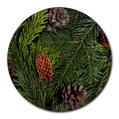 Branch Christmas Cone Evergreen Round Mousepads
