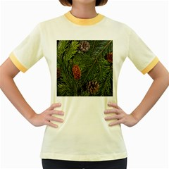 Branch Christmas Cone Evergreen Women s Fitted Ringer T Shirts