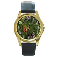 Branch Christmas Cone Evergreen Round Gold Metal Watch