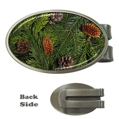 Branch Christmas Cone Evergreen Money Clips (oval)
