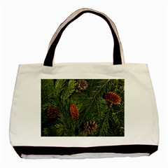 Branch Christmas Cone Evergreen Basic Tote Bag (two Sides)