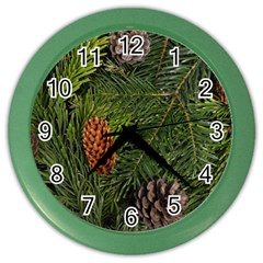 Branch Christmas Cone Evergreen Color Wall Clocks