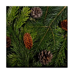 Branch Christmas Cone Evergreen Face Towel