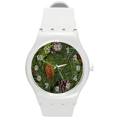 Branch Christmas Cone Evergreen Round Plastic Sport Watch (m)