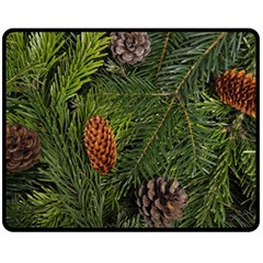 Branch Christmas Cone Evergreen Double Sided Fleece Blanket (medium)